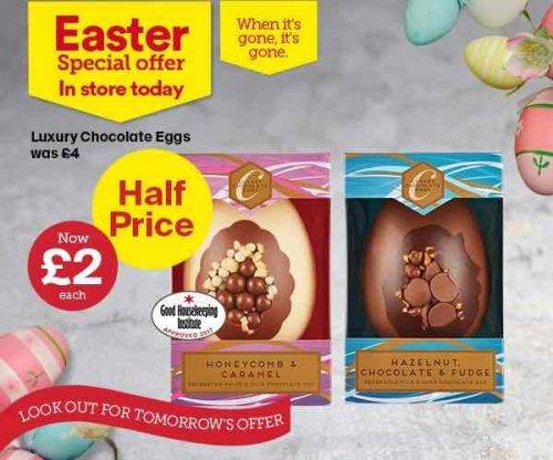 Luxury chocolate eggs (180g) half price at Iceland - £2