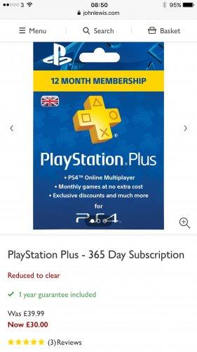 John Lewis PlayStation plus 12 month membership - £30