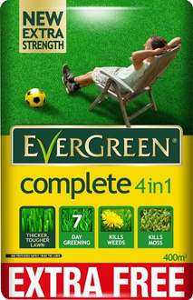EverGreen Complete 4-in-1 Lawn Care Bag, 12.6 kg Plus 10% Free= 400m2 £15 (Prime) £19.75 (Non Prime) @ Amazon