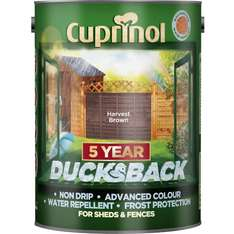 Cuprinol 5 Year Ducksback shed/fence paint various colours 5ltr £8 reduced from £14 C+C @ Wilko