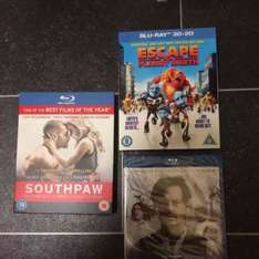 southpaw, transcendence, escape from planet earth blurays £1.00 @ Poundland
