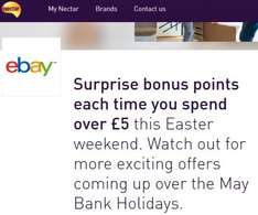 Nectar bonus points each time you spend over £5 this Easter weekend on eBay