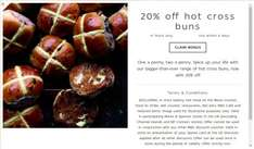20% off hot cross buns for M&S Sparks card members @ M&S