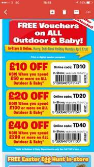 £10 £20 & £40 off Baby & Outdoor @ Smyths