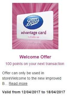 100 Points added (£1) on any transaction with new App @ Boots