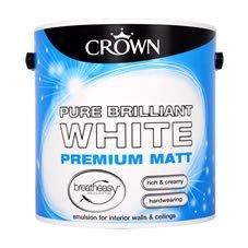 Crown Matt/Silk Emulsion Paint Pure Brilliant White 2.5L £5 at Wilko