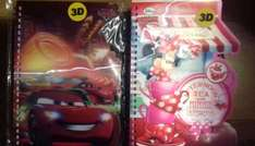 Minnie mouse and Cars spiral shaped notepads 49p @ home bargains instore