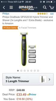 Philips OneBlade QP2520/30 Hybrid Trimmer and Shaver (3x Lengths and 1 Extra Blade) £33.49 - exclusive to Amazon