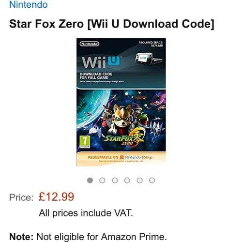 (Wii U) Star Fox Zero eshop download version from Amazon £12.99
