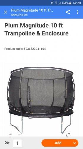 Plum 10ft magnitude trampoline under £84 delivered! @ B&Q