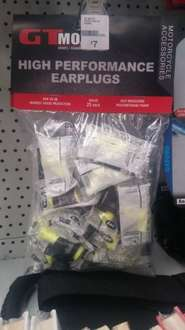 GT Moto 3M ear plugs for motorcyclists etc. Pack of 25 pairs for £7 instore and online (free C&C) @ Halfords