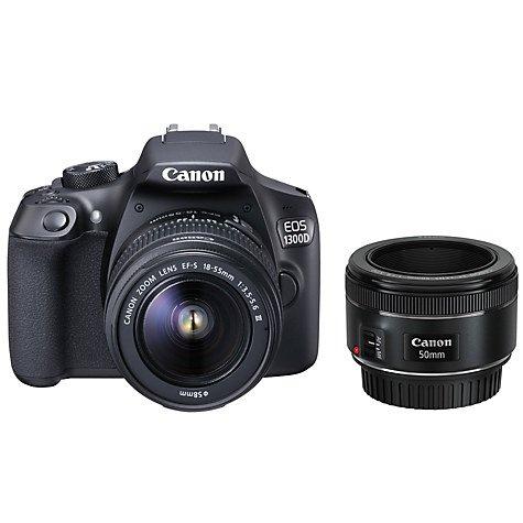 Canon EOS 1300D DSLR Camera with EF 18-55mm III Lens & EF 50mm f/1.8 Lens £329 @ John Lewis