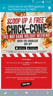 FREE New Chicken Appetizer At TGI Fridays(no purchase necessary)