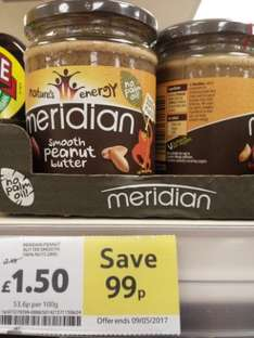Meridian smooth or crunchy peanut butter £1.50 instore @ Tesco