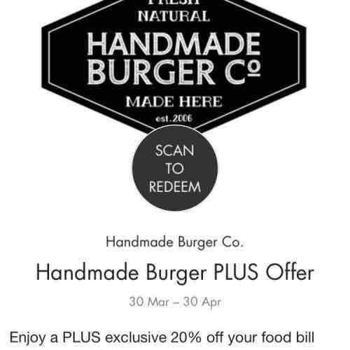 20% off Handmade Burger Company in Birmingham using Bullring app