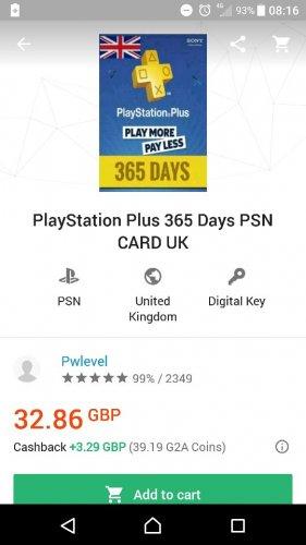 PlayStation Plus 365 Days PSN CARD UK (DIGITAL KEY) £32.86 @ G2A
