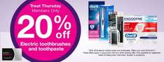 20% off electric toothbrushes and toothpaste today only @ superdrug (Members offer)