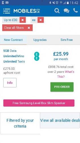Samsung S8 EE 5GB, £25.99 /m £275 upfront, poss £40 Quidco £898.76 @ Mobiles.co.uk