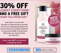 30% off on almost everything & get a free gift worth £20.50 when you spend £25 @ The body shop