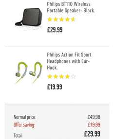 Free Philips Action Fit Sports  headphones with Philips BT110 Wireless  portable speaker £29.99  at Argos