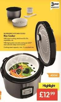 Rice Cooker 1L - £12.99 - LIDL ( Silvercrest) 400W - Includes Steam Cooking Attachment for Fish, Vegetables etc. - 3 Year Warranty