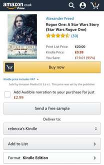 Rogue One: A Star Wars Story (Star Wars Rogue One) 99p @ Amazon (Kindle)