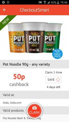 pot noodle 90g all variety 50p cashback @ Checkoutsmart