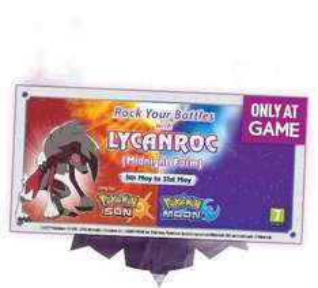 Free Lycanroc (midnight) Pokémon Sun/Moon at game until 31st May