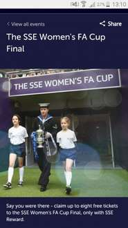 Free tickets for the Women's FA cup final for SSE Customers