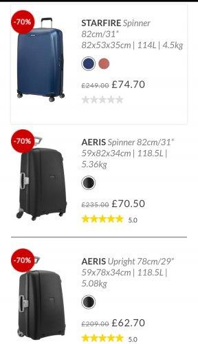 Samsonite Aeris and Starfire suitcase sale 70% off - £56.70 to £74.70