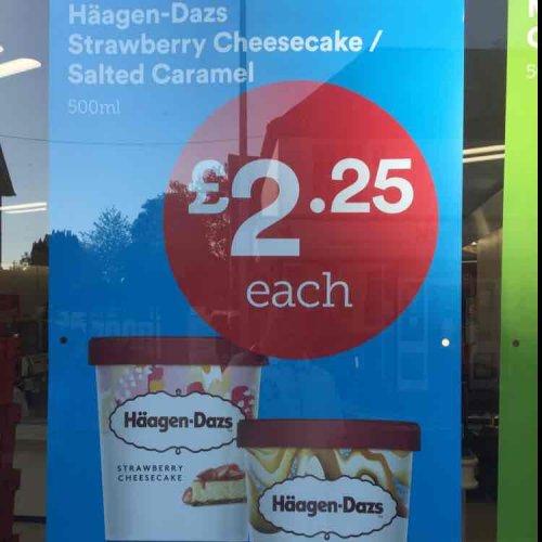Iceland - Haagen Dazs Ice Cream  £2.25 each