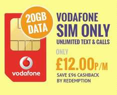 £20p/m vodafone sim only (12 months - £240 total) | £12 after cashback @ e2save