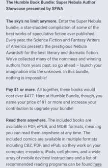 Humble Book Bundle: Super Nebula Author Showcase presented by SFWA (pay what you want and help charity) - 80p
