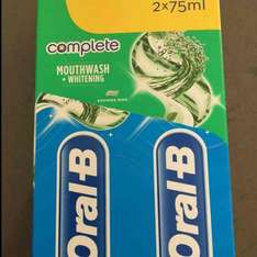 Oral-B complete Mouthwash + Whitening 2x75 ml pack at savers - £1.49