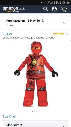 LEGO Ninjago Kai Prestige Costume for Kids (Large only) - £12.32 Prime / £17.07 Non Prime @ Amazon