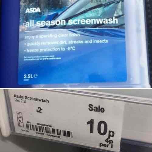 ASDA All Season Screenwash 10p instore