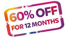 60% off Sky TV renewals - Retentions - 12 month offer on a rolling 1 month Sky Box Sets and Cinema for £22.80