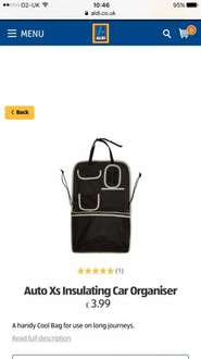 Car organiser with cool compartment £3.99 @ Aldi