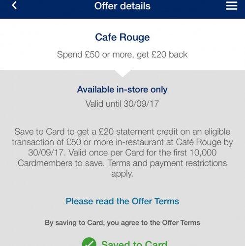 Amex offer: Café Rouge spend £50 or more, get £20 back