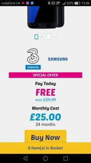 Samsung galaxy s7 24 month contract. £25 per month  buymobiles.net