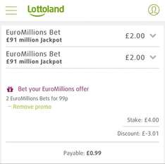 2 EuroMillions Bets on Friday's £91m Jackpot for 99p with code @ Lottoland