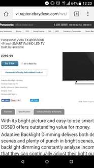 Panasonic Viera TX-49DS500B 49 Inch SMART Full HD LED TV Built In Freetime (Refurb from ebay Panasonic outlet with 1Year warranty) £299.99