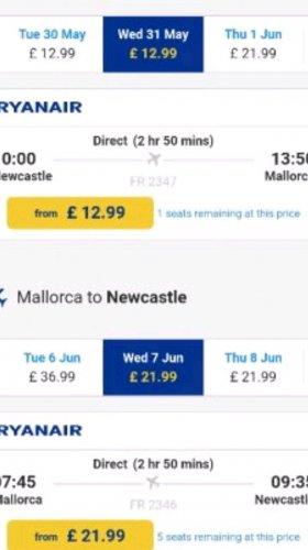Newcastle to Palma (Majorca) 31st May - 7th June £34.98 @ Ryanair