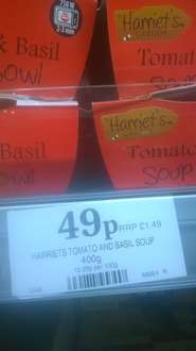 Harriet's Garden Tomato & Basil Soup Bowl 400g 49p in home bargains