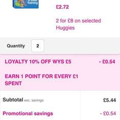 Huggies night time pull ups states £8 for 2 packs. GLITCH £4.90!