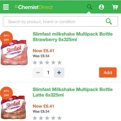 slim fast 25% off all range. shakes £6.41 for 6 bottles @ Chemist Direct