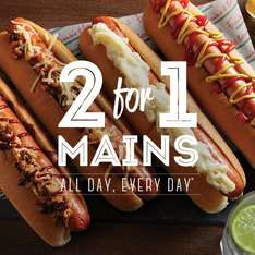 2 for 1 on ALL main courses all day everyday until 19th June @ Frankie and Bennys