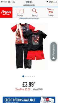Star Wars pjs pack of two £3.99 (Age 3-4) @ Argos (Free C&C)