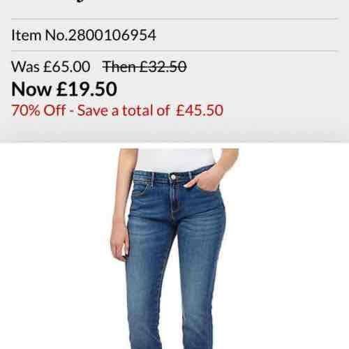 Wrangler jeans sale - women/ men at Debenhams, prices starting from £19.50
