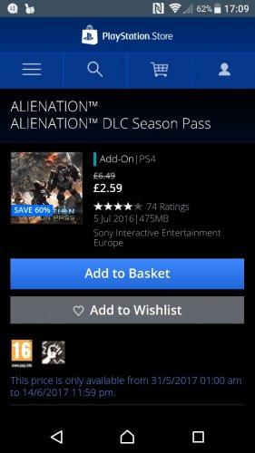 Alienation Season pass £2.59 on PS4